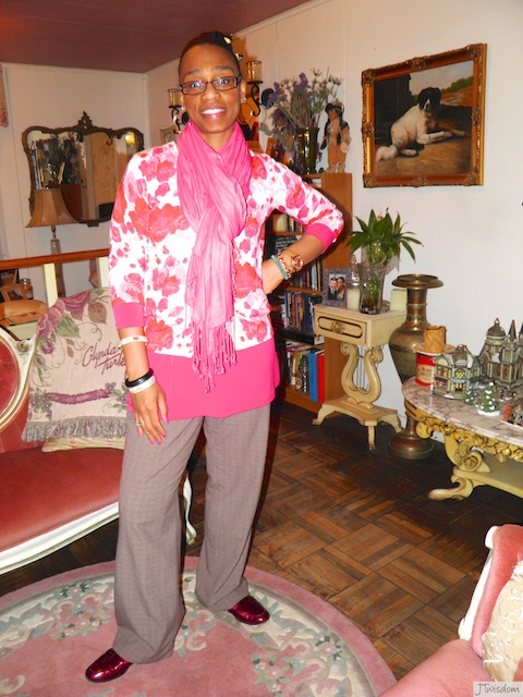 Isaac Mizrahi cardigan layered over a Susan Graver tunic