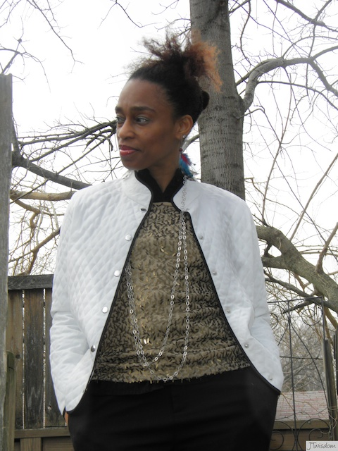 JTwisdom in Susan Graver Quilted Jacket/Jones New York metal pailette tank.