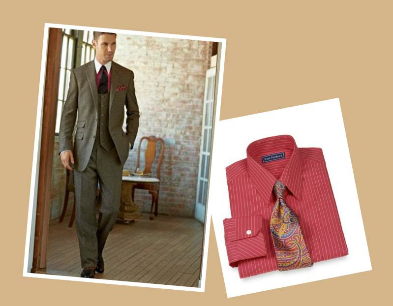 Coordinating Dress Shirt with Donegal Weave Suit Paul Frederick