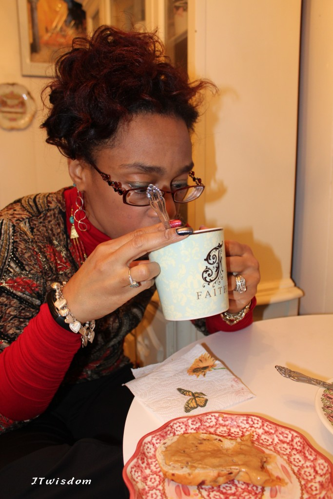 JT enjoying a cup of Japanese Matcha Green Tea while having breakfast with her hubby.