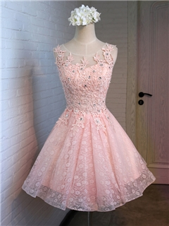 Sweet Crochet Beading Round Neck Sleeveless Lace-up A-line Short Homecoming Dress -- image courtesy of www.dresswe.com