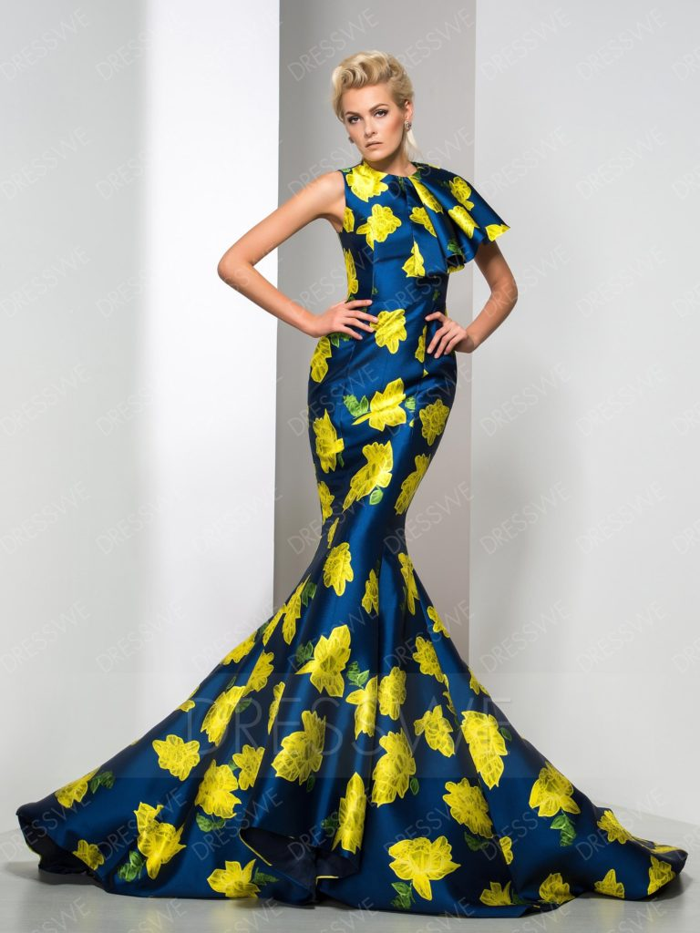 Vogue Floral Printing Trumpet/Mermaid Court Train Evening Dress
