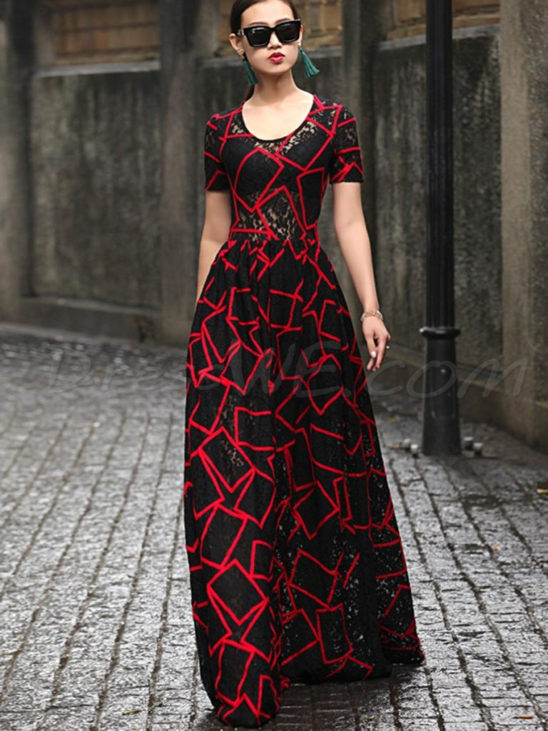 Chic Short Sleeve Print Floor-Length Maxi Dress