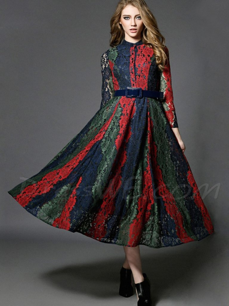 Vogue Color Block Lace Patchwork dress