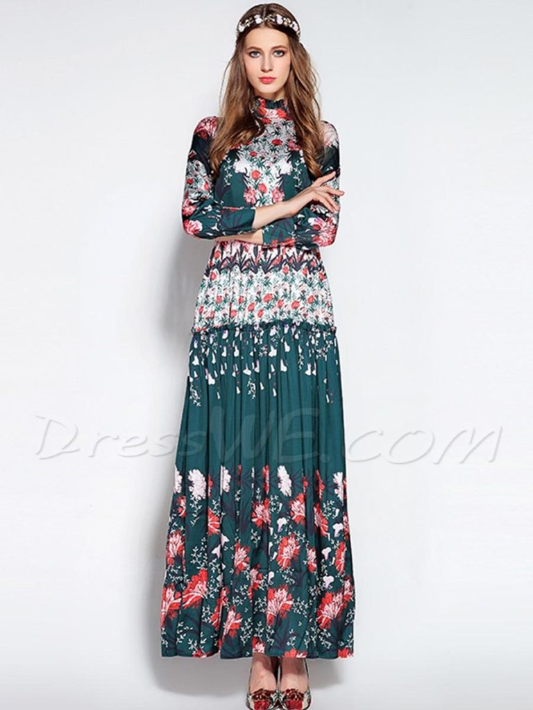 Vintage Bohemian Long Sleeve Expansion Maxi Dress