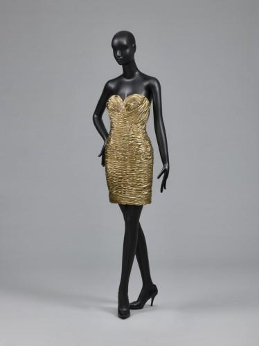 8cf5cec4b155 Designed by Vicky Tiel. Woman's Dress, 1989. Synthetic lamé. Worn by Mrs.  Martin Field, 1989. Philadelphia Museum of Art: Gift of Martin Field, 2014.