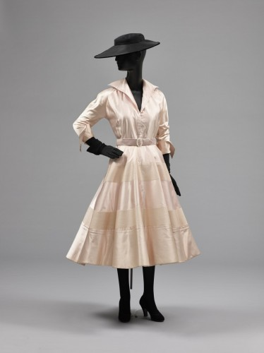 6044a38e878e Designed by Christian Dior. Woman's Dress: Bodice and Skirt, Spring 1948. Silk  satin and embroidery. Philadelphia Museum of Art: Gift of Dora Donner Ide  in ...